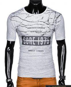 Stilingi pilki vyriškimarškinėliai suužrašais Reinfo vyrams internetu pigiau S1029P priekis