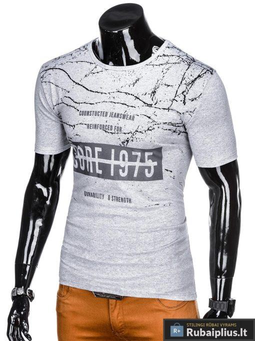 Stilingi pilki vyriškimarškinėliai suužrašais Reinfo vyrams internetu pigiau S1029P kairė