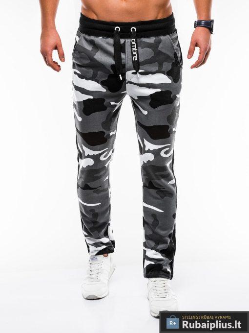 Madingos vyriskos pilkos kamufliažinės sportinės kelnės vyrams internetu pigiau P741PCAM priekis
