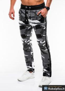 Madingos vyriskos pilkos kamufliažinės sportinės kelnės vyrams internetu pigiau P741PCAM kairė