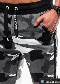 Madingos vyriskos pilkos kamufliažinės sportinės kelnės vyrams internetu pigiau P741PCAM kišenė