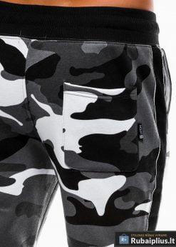 Madingos vyriskos pilkos kamufliažinės sportinės kelnės vyrams internetu pigiau P741PCAM nugara kišenė