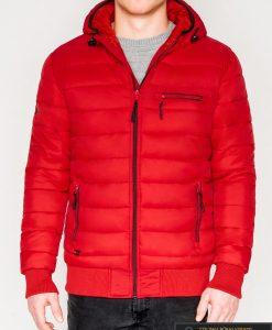 Madinga raudona rudeninė-pavasarinė vyriška striukė vyrams Dorsi internetu pigiau C353R priekis