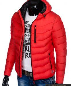 Raudona rudeninė-pavasarinė vyriška striukė vyrams Sorto C371R kairė