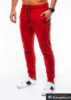 Stilingos vyriskos raudonos sportinės kelnės vyrams treningines internetu pigiau P743R kairė