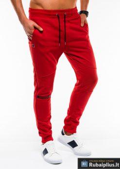 Stilingos vyriskos raudonos sportinės kelnės vyrams treningines internetu pigiau P743R dešinė