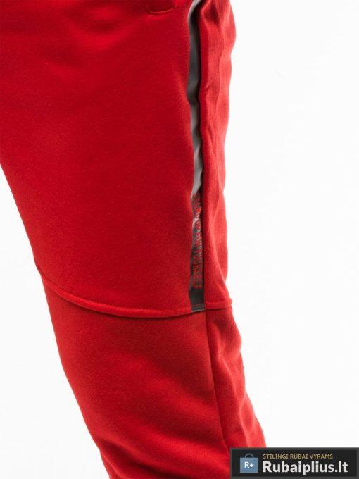 Stilingos vyriskos raudonos sportinės kelnės vyrams treningines internetu pigiau P743R koja šonas