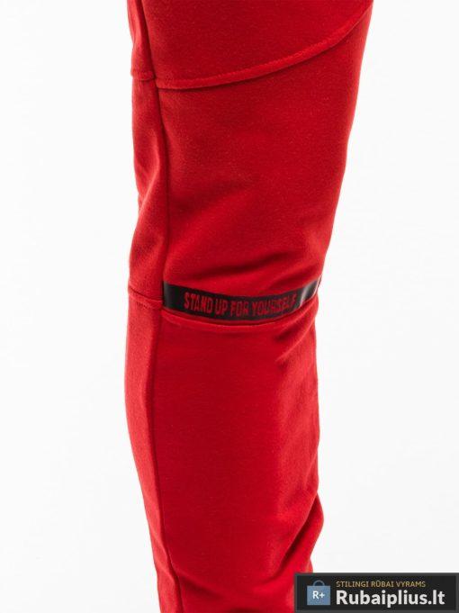 Stilingos vyriskos raudonos sportinės kelnės vyrams treningines internetu pigiau P743R priekis koja