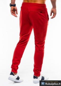 Stilingos vyriskos raudonos sportinės kelnės vyrams treningines internetu pigiau P743R nugara