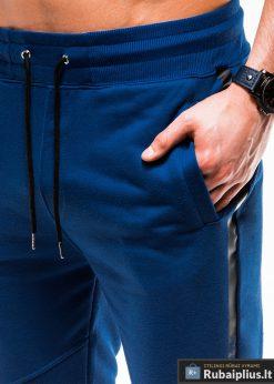 Vyriskos sodriai mėlynos sportinės kelnės vyrams internetu pigiau P743MT kišenė