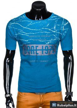 Stilingi šviesiai mėlyni vyriškimarškinėliai suužrašais Reinfo vyrams internetu pigiau S1029TURK priekis