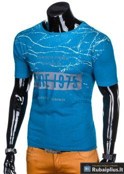 Stilingi šviesiai mėlyni vyriškimarškinėliai suužrašais Reinfo vyrams internetu pigiau S1029TURK kairė