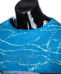 Stilingi šviesiai mėlyni vyriškimarškinėliai suužrašais Reinfo vyrams internetu pigiau S1029TURK apykaklė