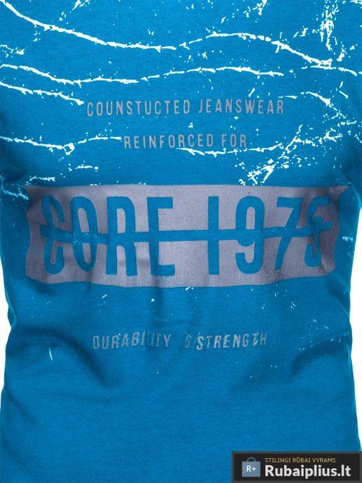 Stilingi šviesiai mėlyni vyriškimarškinėliai suužrašais Reinfo vyrams internetu pigiau S1029TURK priekis arčiau