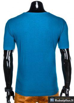 Stilingi šviesiai mėlyni vyriškimarškinėliai suužrašais Reinfo vyrams internetu pigiau S1029TURK nugara
