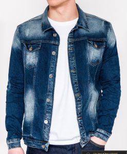 Tamsiai mėlyna džinsinė vyriška striukė vyrams su aplikacija Choice internetu pigiau C345M priekis