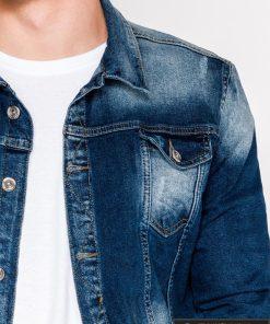 Tamsiai mėlyna džinsinė vyriška striukė vyrams su aplikacija Choice internetu pigiau C345M apykaklė
