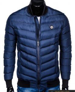 Stilinga tamsiai mėlyna rudeninė-pavasarinė vyriška striukė vyrams Horton internetu pigiau C378TM priekis