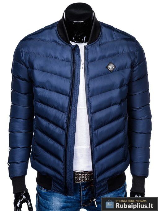 Stilinga tamsiai mėlyna rudeninė-pavasarinė vyriška striukė vyrams Horton internetu pigiau C378TM priekis prasegta