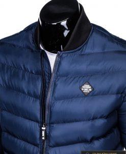 Stilinga tamsiai mėlyna rudeninė-pavasarinė vyriška striukė vyrams Horton internetu pigiau C378TM apykaklė
