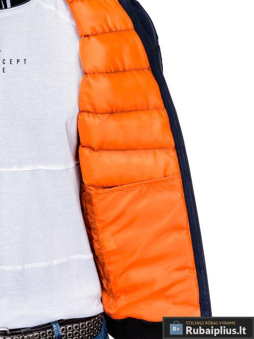 Stilinga tamsiai mėlyna rudeninė-pavasarinė vyriška striukė vyrams Horton internetu pigiau C378TM vidus