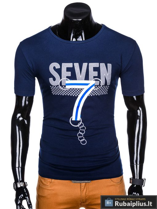 Tamsiai mėlyni vyriški marškinėliai su aplikacija vyrams Seven internetu pigiau S1030TM priekis
