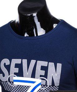 Tamsiai mėlyni vyriški marškinėliai su aplikacija vyrams Seven internetu pigiau S1030TM apykaklė