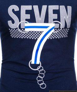 Tamsiai mėlyni vyriški marškinėliai su aplikacija vyrams Seven internetu pigiau S1030TM užrašas