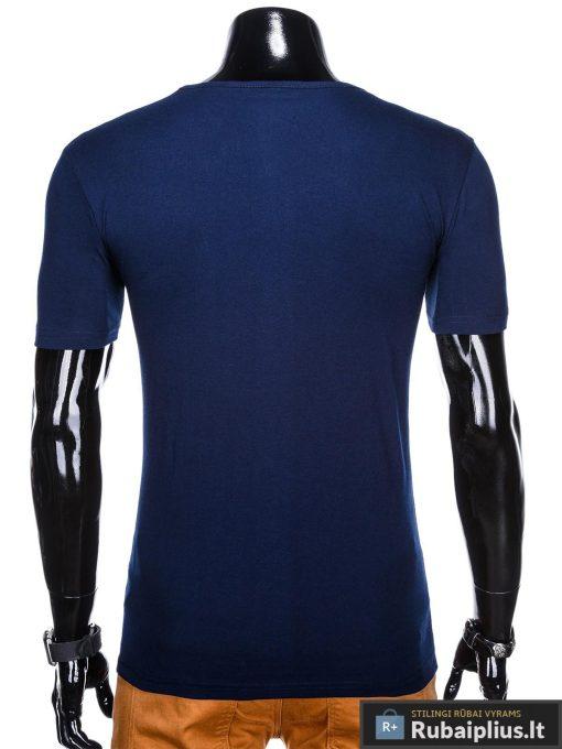 Tamsiai mėlyni vyriški marškinėliai su aplikacija vyrams Seven internetu pigiau S1030TM nugara