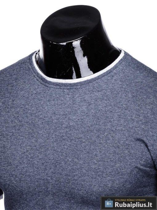 Tamsiai mėlyni vyriški marškinėliai vyrams Todo internetu pigiau S1033STM apykaklė