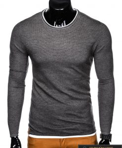 Madingas tamsiai pilkas-melanžinis vyriškas megztinis vyrams Dreg internetu pigiau E121TPM priekis