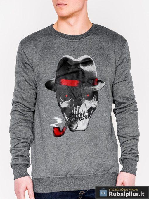 Tamsiai pilkas vyriškas džemperis su aplikacija vyrams Hud internetu pigiau B940TP priekis