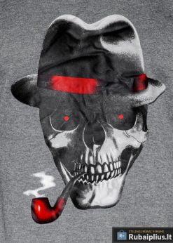 Tamsiai pilkas vyriškas džemperis su aplikacija vyrams Hud internetu pigiau B940TP aplikacija