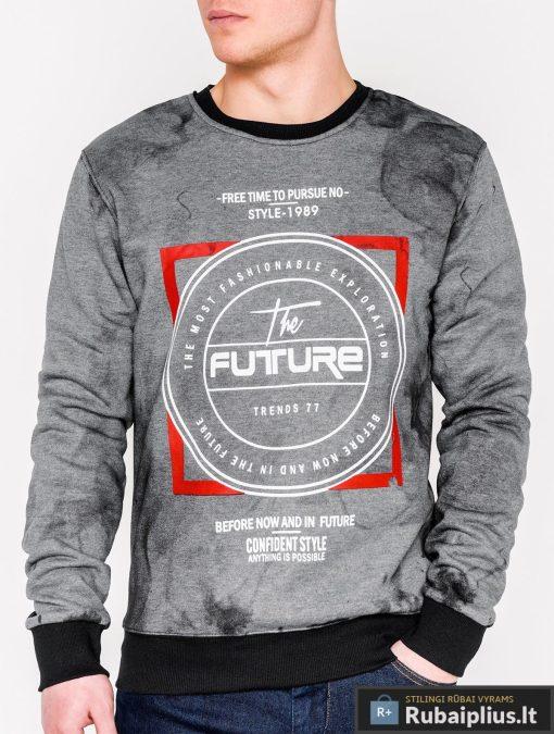 Tamsiai pilkas vyriškas džemperis su užrašais vyrams Future internetu pigiau B946TP priekis