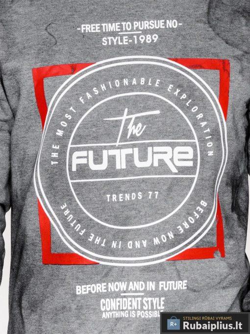 Tamsiai pilkas vyriškas džemperis su užrašais vyrams Future internetu pigiau B946TP užrašas