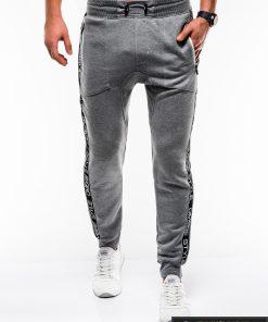 Stilingos vyriskos tamsiai pilkos sportinės kelnės vyrams Ostyle internetu pigiau P744TP priekis