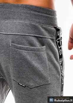 Stilingos vyriskos tamsiai pilkos sportinės kelnės vyrams Ostyle internetu pigiau P744TP kišenė