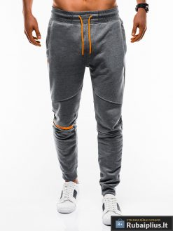 Vyriskos tamsiai pilkos sportinės kelnės vyrams internetu pigiau P743TP priekis