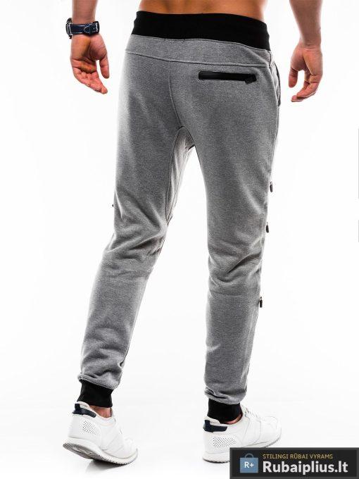 Vyriskos tamsiai pilkos sportinės kelnės vyrams internetu pigiau P746TP nugara