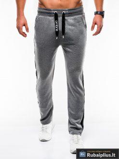 Stilingos vyriskos tamsiai pilkos sportinės kelnės vyrams internetu pigiau P741TP priekis