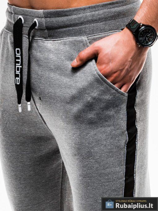 Stilingos vyriskos tamsiai pilkos sportinės kelnės vyrams internetu pigiau P741TP priekis arti