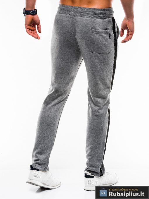 Stilingos vyriskos tamsiai pilkos sportinės kelnės vyrams internetu pigiau P741TP nugara