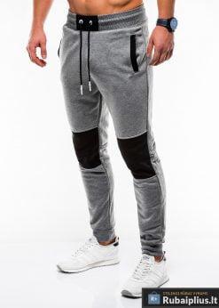 Stilingos vyriskos tamsiai pilkos sportinės kelnės vyrams Zerk internetu pigiau P745TP kairė