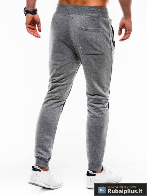 Stilingos vyriskos tamsiai pilkos sportinės kelnės vyrams Zerk internetu pigiau P745TP nugara