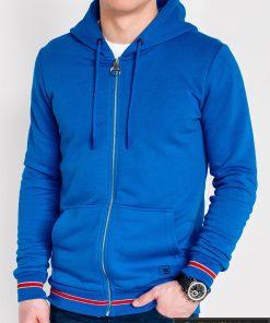 """stilingas vienspalvis mėlynas vyriškas džemperis vyrams su gobtuvu užsegamas užtrauktuku """"Nifan"""" internetu pigiau B912"""
