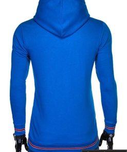 stilingas vienspalvis mėlynas vyriškas džemperis vyrams su gobtuvu užsegamas užtrauktuku