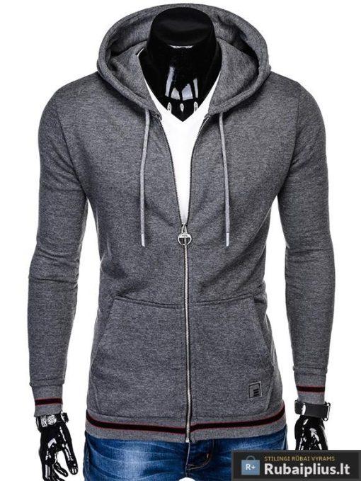 """stilingas vienspalvis tamsiai pilkas vyriškas džemperis vyrams su gobtuvu užsegamas užtrauktuku """"Nifan"""" internetu pigiau B912"""