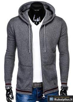 stilingas vienspalvis tamsiai pilkas vyriškas džemperis vyrams su gobtuvu užsegamas užtrauktuku
