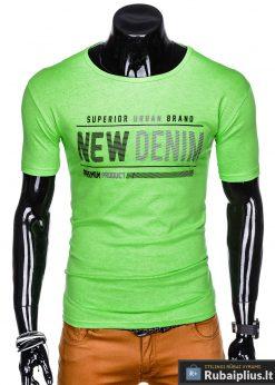 Stilingi žali vyriškimarškinėliai suužrašais Denim vyrams internetu pigiau S1054Z priekis