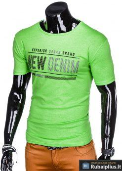 Stilingi žali vyriškimarškinėliai suužrašais Denim vyrams internetu pigiau S1054Z kairė